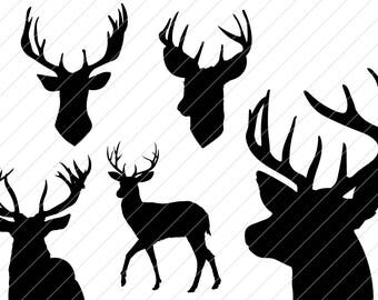 Deer head set clipart vector graphics,digital images, SVG, EPS, png for cutting