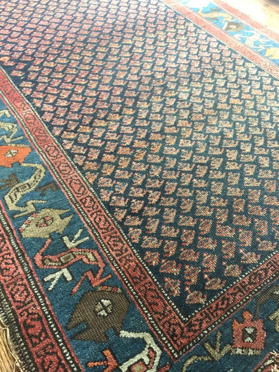 "4'2""x6'8"" Vintage Persian Hamadan Rug"