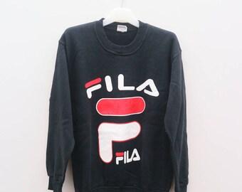 Vintage FILA Big Logo Sportswear Black Sweater Sweatshirt Size M