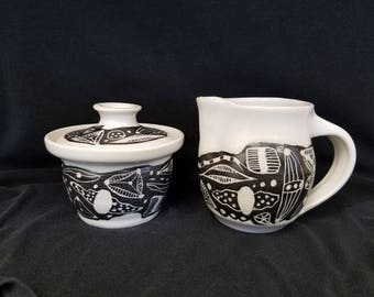 Hand Made Pottery Creamer and Sugar Bowl #1
