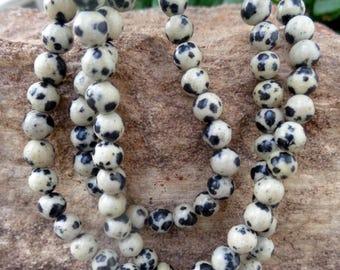 "Dalmation Stone 6mm Round Beads - 15"" Strand"