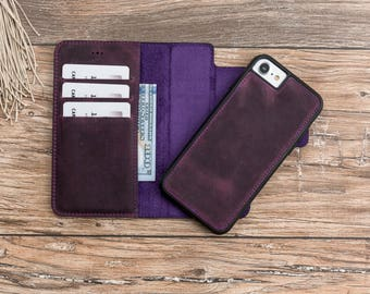 iPhone 7 leather wallet case, iphone detachable magnet case, iphone 7 wallet, iPhone 7 case, iPhone 7 case wallet, Purple iphone 7 case#POLİ