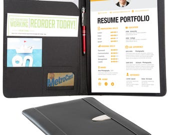 Resume Portfolio Padfolio   Genuine Bonded Leather Portfolio With  Replaceable A4 Writing Pad, Document Holder  Leather Resume Portfolio