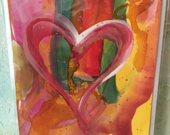 5 Original Hand Painted Greeting Cards, Paper,  Plethora of Heart Cards, Cards,
