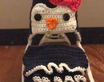 Penguin hat and diaper cover