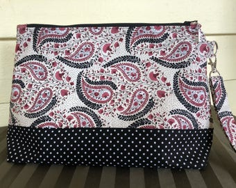 Knitting Bag, Project Bag, Zippered Crochet Bag, Fiber storage, Zipper Project Bag, polka dot Project Bag, Paisley Bag