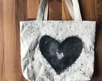 Hand painted canvas tote bag