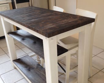 2 Half Shelves, End Grain Kitchen Island Butcher Block Top With Seating For  2,