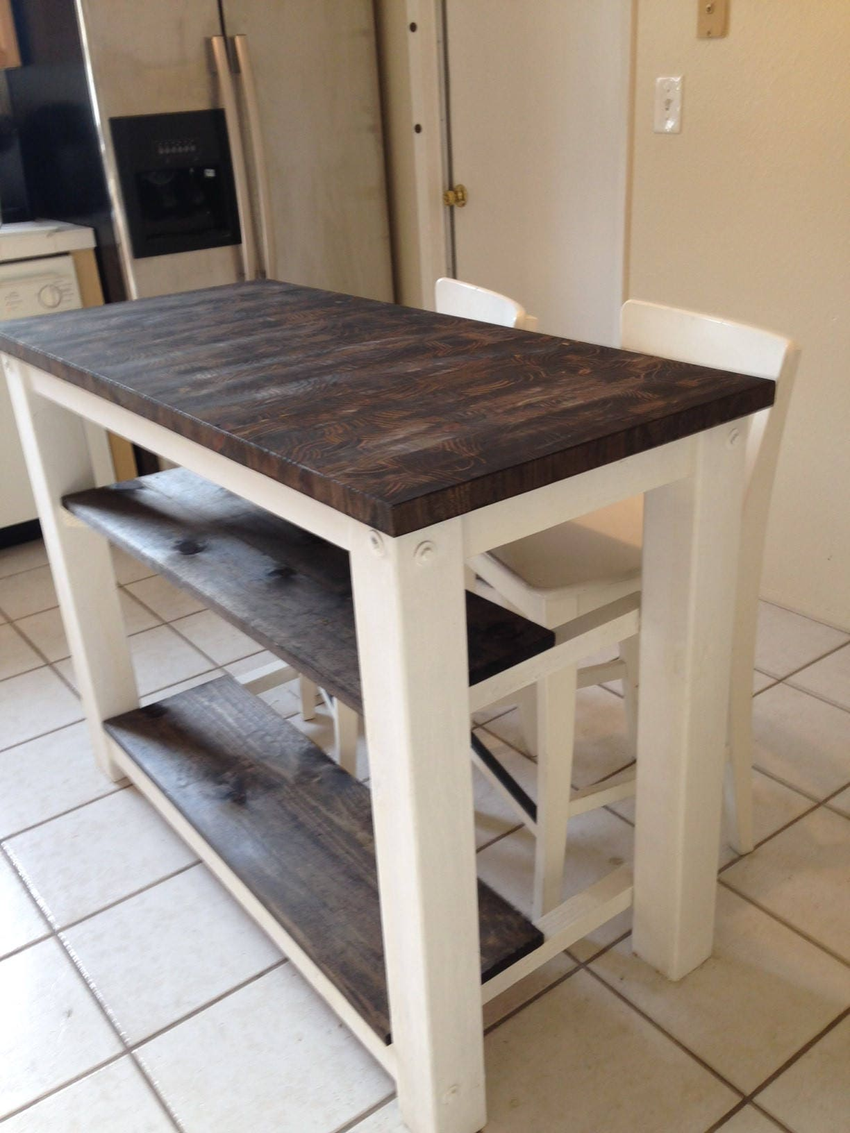 2 half shelves end grain kitchen island butcher block top for Wood top kitchen table