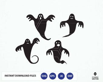 Ghost Svg. Halloween Ghosts  Svg, Dxf, Png. Ghost Vector. Ghost Clip Art, Halloween Clip Art. Ghost Cut Files, Cricut, Silhouette Files