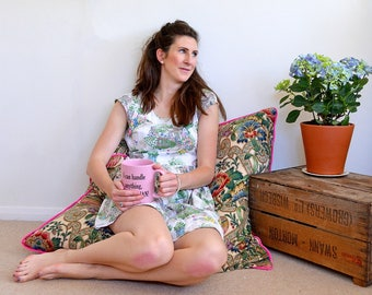 "Vintage floral floor cushion with luxe hot pink velvet trimming, made with upcycled Sanderson fabric, 100 cm/30"" square, duck feather insert"