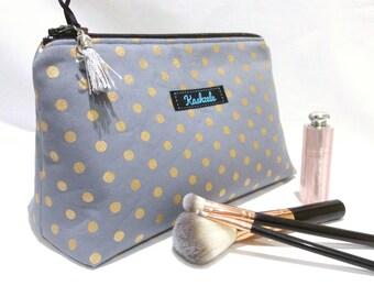 Medium Make Up Bag, Medium Cosmetic Bag, Medium Makeup Bag, Travel Bag, Toiletry Bag, Zipper Pouch, Hair Accessory Bag, Gift for Her, Grey.