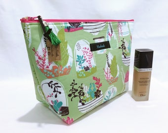Terrarium Large Cosmetic Bag, Large Toiletry Bag, Travel Bag, Large Make up Bag, Makeup Bag, Large Deep Cosmetic Bag. Gift for her.