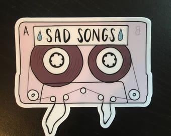 SAD SONGS Cassette Vinyl Sticker