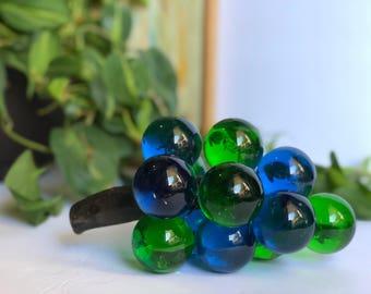 Vintage Blue + Green Lucite Grape Cluster Decor, Midecentury Modern Fruit