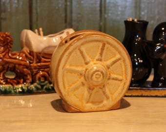 Vintage Toothpick Holders - black cat and vase on book, wagon wheel, covered wagon