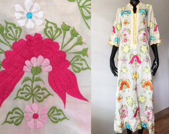 Vintage Leandra Rainbow Embroidered Floral White Caftan Maxi Dress