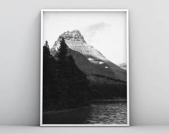 Wilderness Printable, Black and White Woodland Print, Modern Woodland Print, Wilderness Wall Art, Black White Mountain Poster, Photography