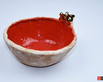 Gold-birds Medium Red Bowl, Handmade Luxury Ceramic, Melbourne