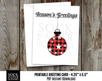 Printable Card, Christmas Card PDF,  Buffalo Plaid Ornament Card, DIY Card Kit, Seasons Greetings Card with diy Envelope, SKU RGC135