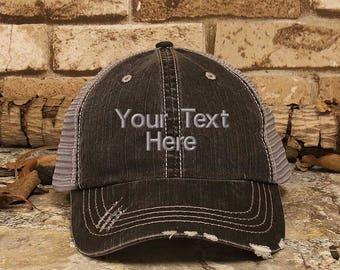 Custom Trucker Hat, Personalized Baseball Cap, Men's Hat, Women's Hat, Distress Hat, Custom Embroidery, Custom Gift