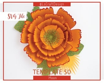 SVG Paper flower, Flower For Wall, Giant Paper Flower Templates, Paper Flower, Cricut/Silhouette Ready, Base Including