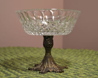 Vintage clear cut glass candy dish on patina metal pedestal