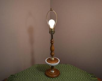 Vintage mid century modern milk glass, wood spool & brass lamp