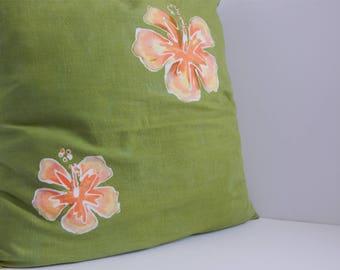 Green Batik Hibiscus Pillow Cover 18 x 18