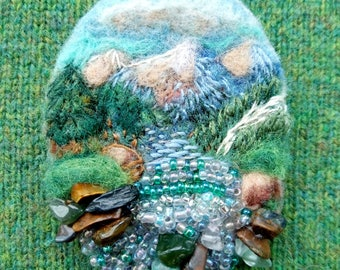 Needle Felt Picture Brooch Embroidered River Stream Landscape Mountain Scenery Climber Gift Beaded Nature Eco Broach Fairytale Gift Felt Pin