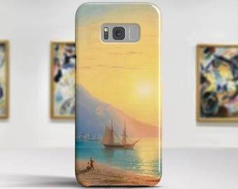 "Ivan Aivazovsky, ""Sunset over Yalta"".Samsung Galaxy S8 Plus Case LG V30 case Google Pixel Case Galaxy A5 2017 Case. Art phone cases."