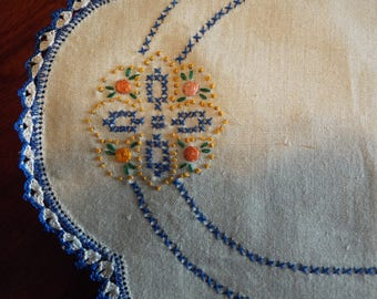 Set of 3 Vintage Ivory Color Irish Linen Doilies Embroidered and Trimmed with Blue Crocheted Lace Edges