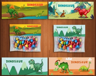 Dinosaur Treat Bags, Birthday Party Treat Bags, Dinosaur Party Favors, Dinosaur bags, Birthday Party Favors, Dinosaurs Candy, | DI_FULL