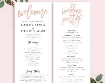 Rose Gold Wedding Program Printable Template Calligraphy