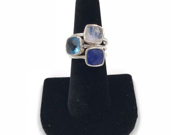 New design:  Sterling silver blue topaz stacking ring