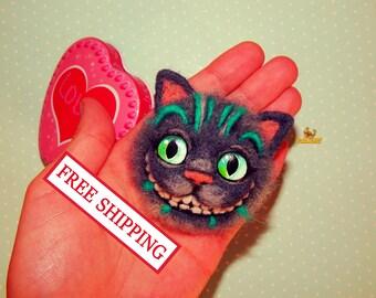 Felt brooch cat Needle felted brooch Cheshire Cat felted brooch accessory jewelry Alice in Wonderland cat felt brooch Christmas dools gift