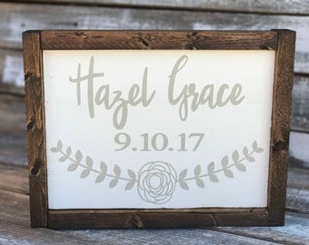 Custom Infant Name Framed Wood Word Sign | Baby Gift | Newborn Framed Word Sign | Nursery Decor | Rustic Nursery