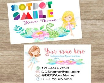 Fairy Business Card with flowers, customized, personalized, DotDotSmile