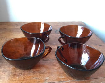 Set of four Vereco France brown tea cups