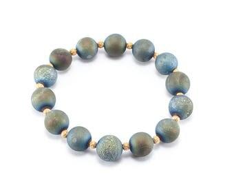 Blue Druzy Beaded Bracelet