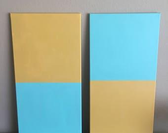 2 12X24 Block Abstract Paintings, Acrylic, Canvas Art, Line Art, Block Art