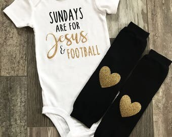 Sundays are for Jesus and Football bodysuit, Football Outfit, Baby football outfit, Sunday Bodysuit