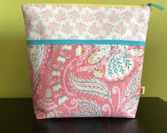"""Handmade large zipper pouch for knitting and crochet project 11.5"""" x 7.5"""" x 9.5"""" x 3.5""""  *Isabelle*"""