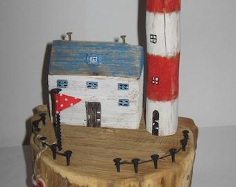 "Driftwood Art * Unique Gift *""The Lighthouse"" * Coastal Art * Coastal Home Decor * Luxury Gift * Recycled Art * Driftwood * Found art"