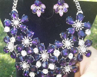 SALE Violet Purple Flower Statement/Bib Necklace and Earring Set, Silver filled, Free Shipping.