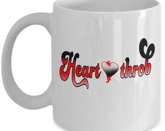 Valentines Heart Throb Couples Mugs - Heart Throb - 11oz or 15oz Ceramic Cups For Coffee And Tea