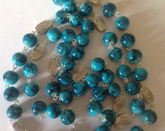 Long turquoise necklace beaded necklace handmade necklace flapper necklace