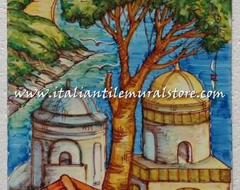 Decorative tile garden Ravello. Mosaic hand painted. Beautifull landscape tile. Tile customized. Tiles art backsplash. Decorative tiles