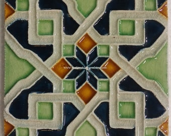 """Arabesque Tile handmade relief tile, kitchen backsplash tile, 45 pieces 6""""x6"""" inch Made in Italy handcrafted tiles Made in Italy"""