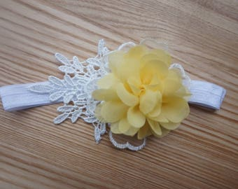 Baby Girl Yellow Flower Lace Headband